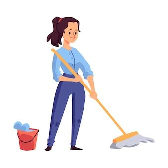 モップで床を洗う女性または若い女の子の漫画のキャラクター
