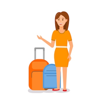 Woman in orange dress standing at suitcase luggage