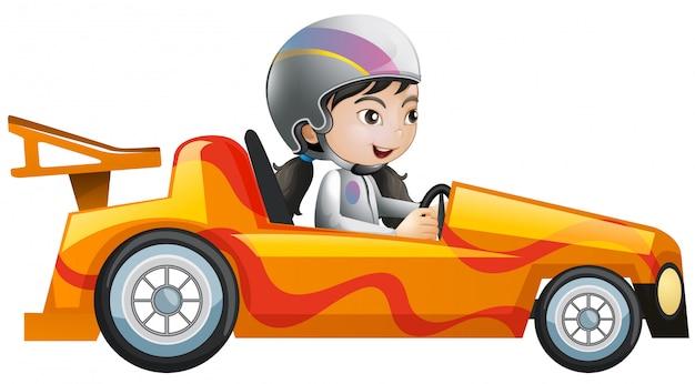 Woman in orange racing car