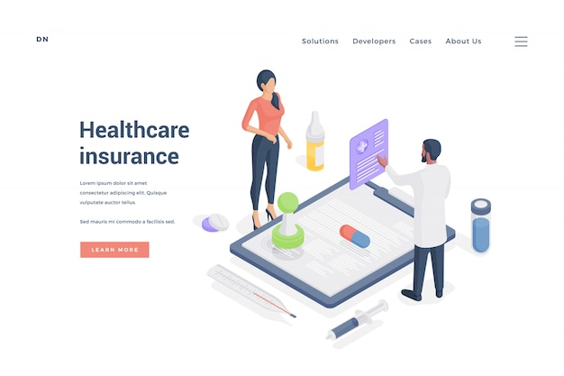 Woman ordering healthcare insurance from agent.   illustration