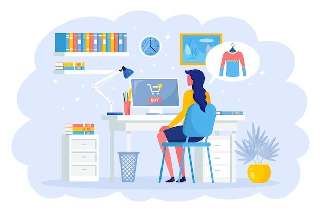 Женщина заказывает свитер по интернету. концепция покупок в интернете