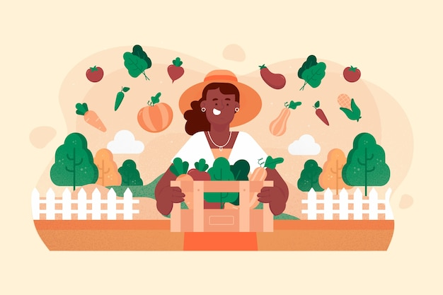 Woman organic farming concept illustration