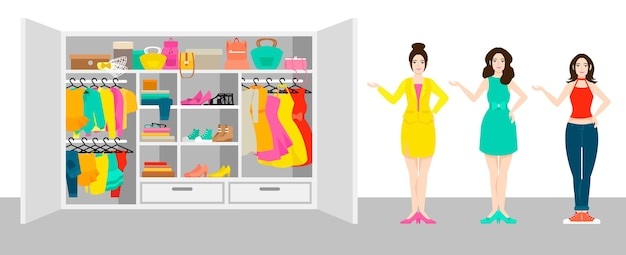 Woman outfit elements banner with girls standing near wardrobe with clothes and accessories