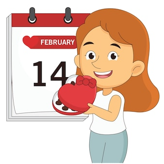カレンダーページ上の女性幸せなバレンタインデーの挨拶