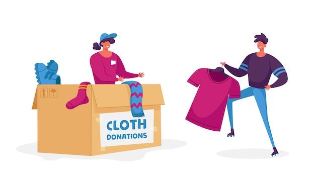 Коробка упаковки женщины с вещами пожертвования. благотворительная организация помогает людям, попавшим в беду
