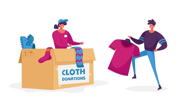 Woman packing box with donating things. charity organization help people in troubles