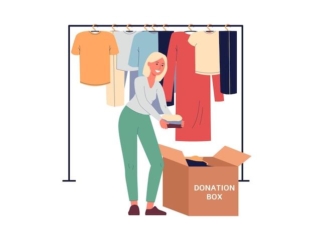 기부금 상자 평면 그림에 의류를 포장하는 여자