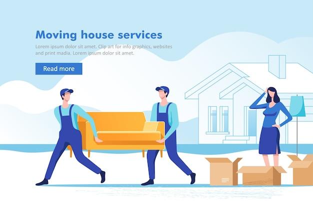 新しい家やアパートに移動するために荷物を詰める女性
