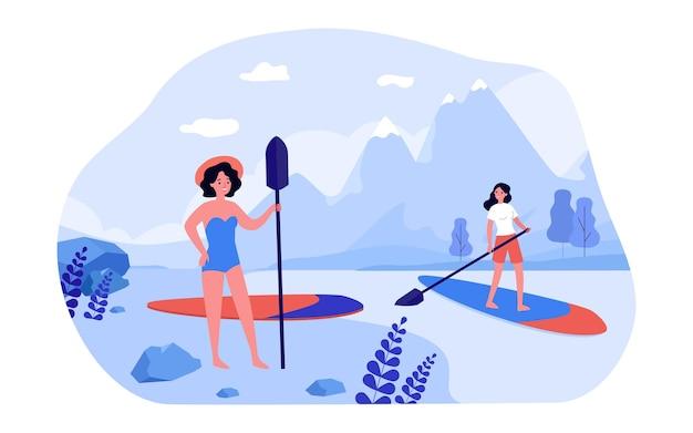 山の湖に搭乗する女性のパドル。パドルフラットベクトルイラストと海岸に立っている水着の女性キャラクター。アウトドアアクティビティ、ウェブサイトのデザインやランディングウェブページのスポーツコンセプト