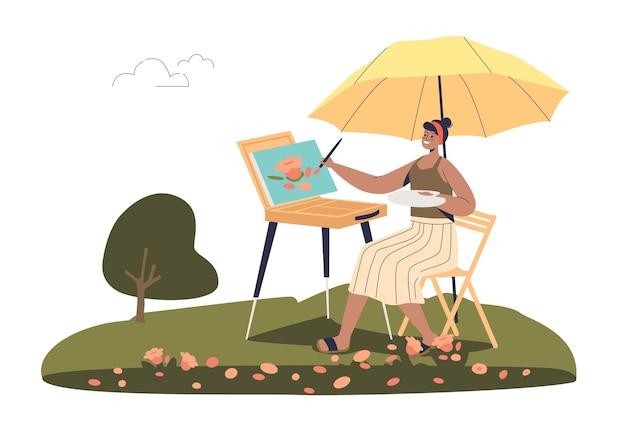 Художник женщина рисует на открытом воздухе иллюстрации