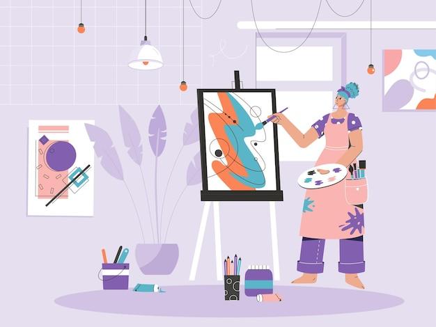 イーゼルでキャンバスに絵を描く女性画家。