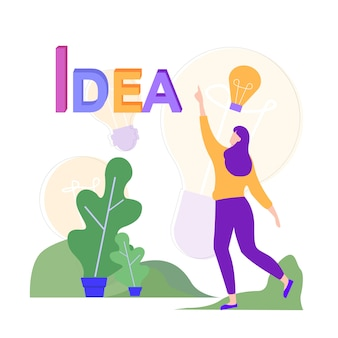 Woman in park has new idea. vector illustration.