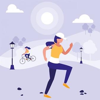 Woman in park vector design