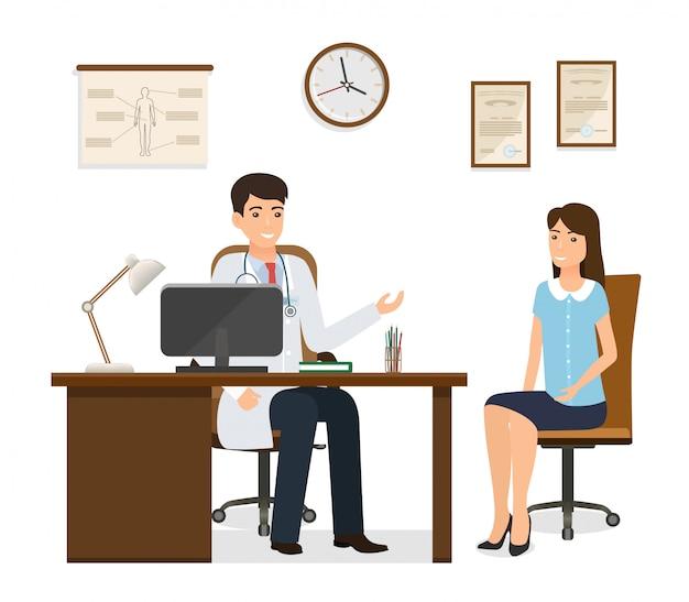 Пациент женщины на консультации доктора в офисе клиники. мужской доктор в форме консультации женского пациента характер.
