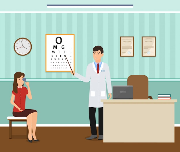 Woman patient at a ophthalmologist doctor's consultation in clinic office.