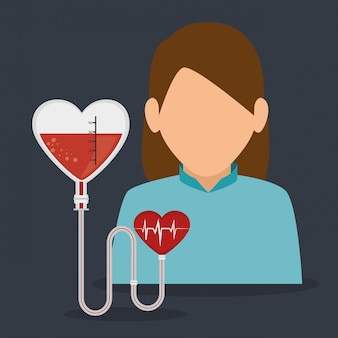 Woman patient with cardiology icon