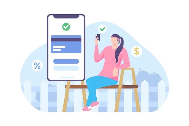 Eコマースのベクトル図でオンラインで支払う女性