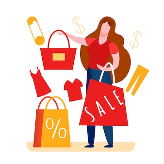 Woman paying for tote in shop illustration