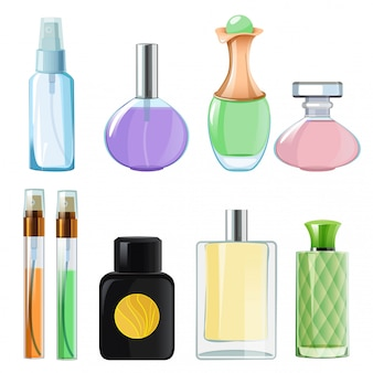 Woman perfumes. glass bottles  perfume on white