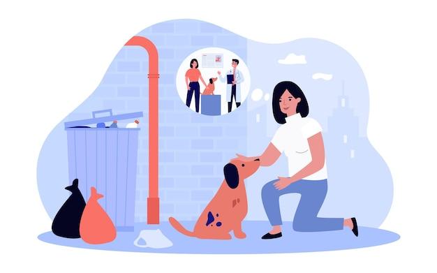 Женщина гладит бездомную собаку и думает о ветеринаре. девушка и грязный щенок в переулке плоской векторной иллюстрации. ветеринарная клиника, концепция ухода за животными для баннера, дизайна веб-сайта или целевой веб-страницы