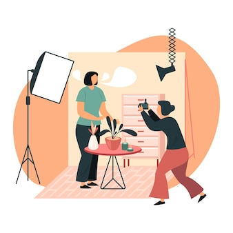 Woman at photoshoot Premium Vector
