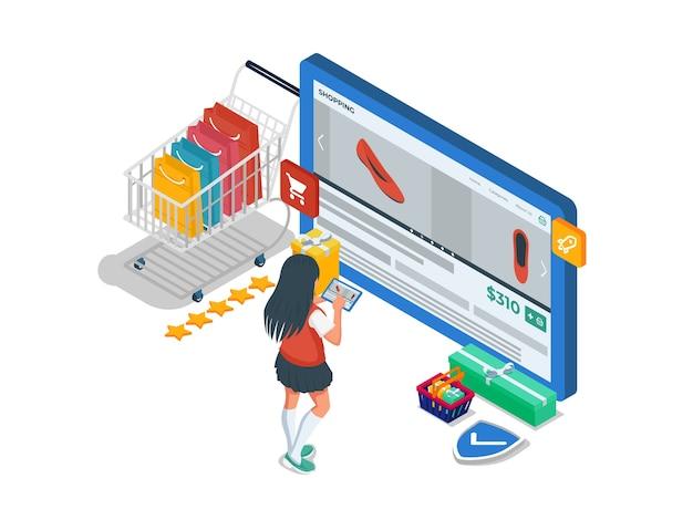 オンラインショップのコンピューター画面で女性が靴を選ぶ。女性キャラクターと等尺性eコマースイラストコンセプト。