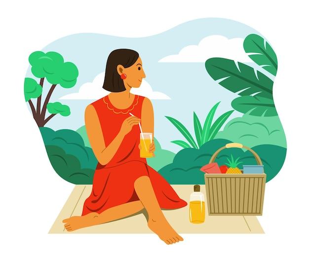 Женщина пикник в саду