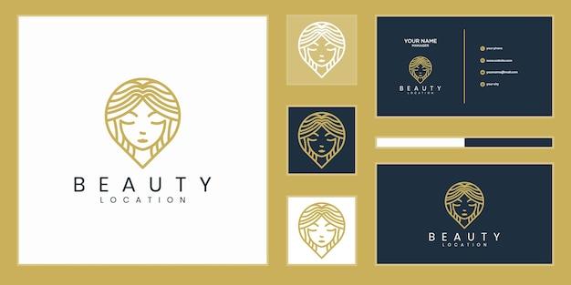 女性の場所のロゴデザインのインスピレーション。フェミニンなピンロゴデザインテンプレート。女性ファインダーのロゴと名刺のデザイン