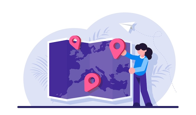 Woman placing location mark or pin on world map choosing trip destination international touristic service for travelling abroad location for tourism