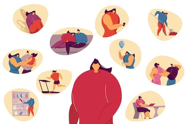 한 주 또는 한 달 동안 이벤트를 계획하거나 긍정적 인 삶의 기억을 회상하는 여성 프리미엄 벡터