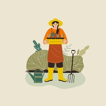 庭を植える女性花農業庭師趣味
