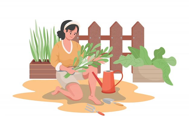 Woman planting and watering garden flowers or vegetables flat illustration. summertime gardening concept.