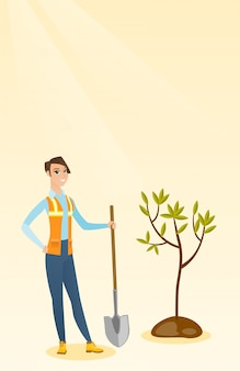 Woman plants tree vector illustration.