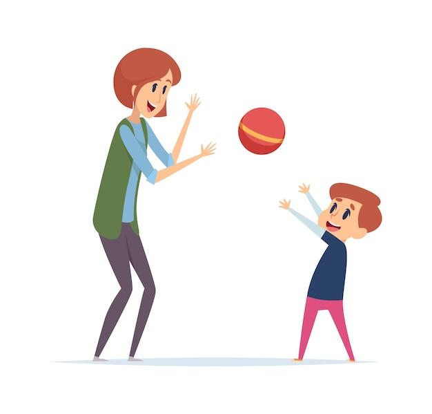 女性は男の子と遊ぶ。ボール、乳母、または母と息子との屋外アクティブゲームは一緒に時間を過ごします。幸せな漫画のプレーヤーのベクトル図。母と少年はボール、女性と子供の活動で遊ぶ