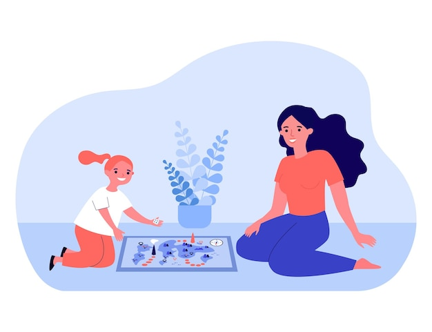 Woman playing board game with little girl. flat vector illustration. mom and daughter or sisters sitting on floor in front of game map with figures, having fun together. family, game, playing concept