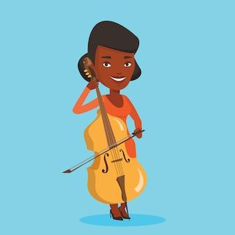 チェロのイラストを演奏する女性。