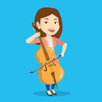 Woman playing cello illustration.