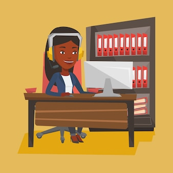 Woman playing computer game illustration.