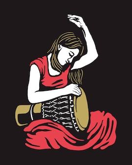 Woman playing drum illustration