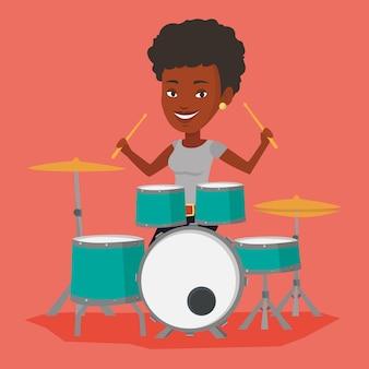 Woman playing on drum kit illustration.