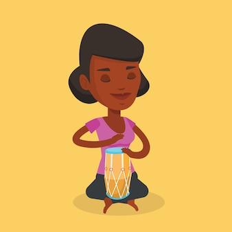 Woman playing ethnic drum illustration.