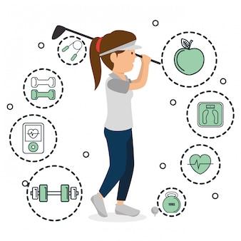 Donna che gioca a golf con le icone di sport Vettore gratuito