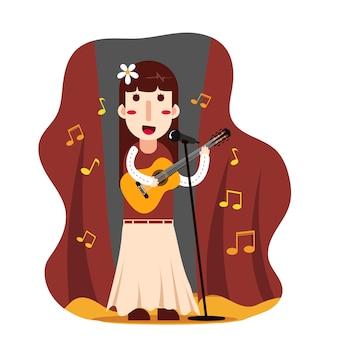 女性がギターを弾いて歌う