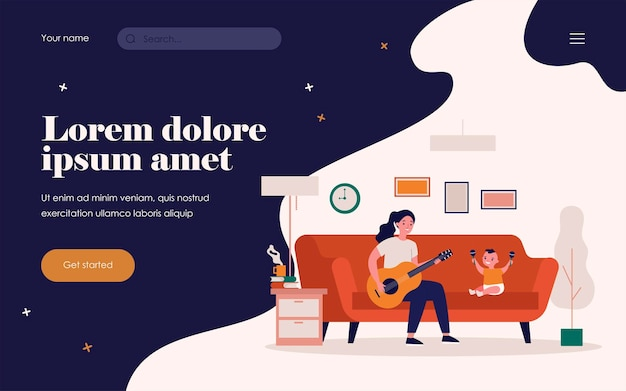 Woman playing guitar for baby with maracas. home, sofa, fun flat vector illustration. entertainment and music concept for banner, website design or landing web page