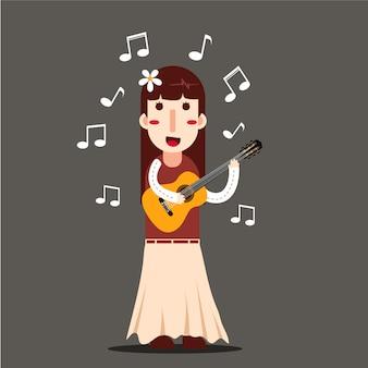 女性がギターを弾く