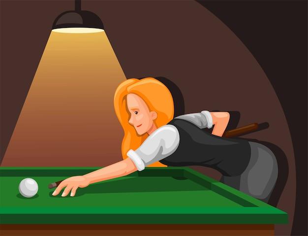 プールをしている女性。側面図の概念からボールを撃つことを目指すプロのビリヤードプレーヤー