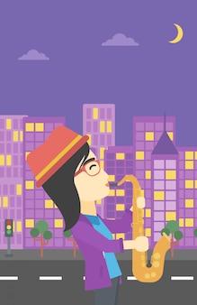 Woman playing saxophone vector illustration.