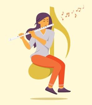 フルートのイラストを演奏する女性
