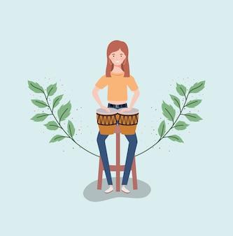 Woman playing timpani drums character