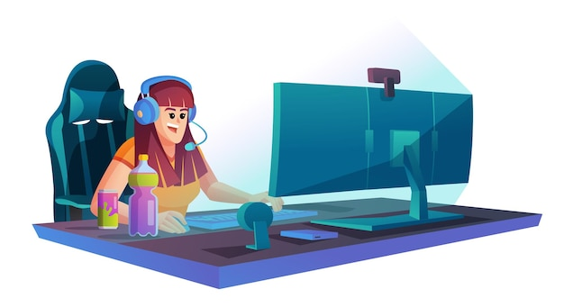 Woman playing video game on the computer concept illustration